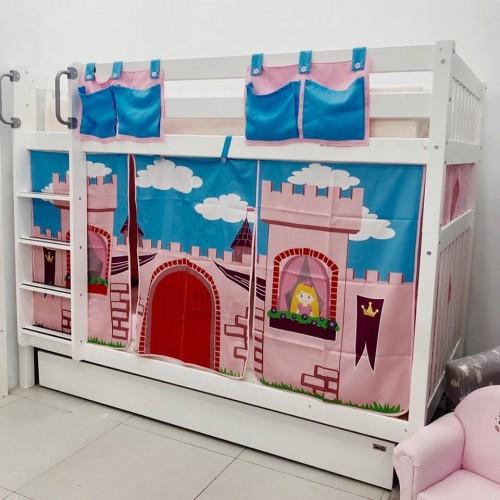เตียงสองชั้น Princess Youth ขนาด3.5ฟุต + ผ้าม่าน + เตียงเสริม