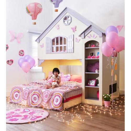 เตียงบ้านตุ๊กตาสองชั้น Amberly (ไม่รวมฐานเตียง 5 ฟุต)