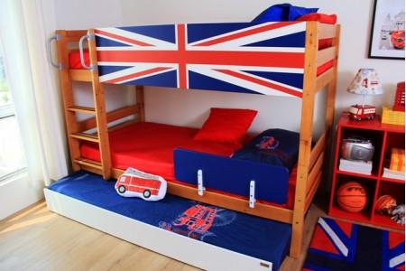 เตียงสองชั้นขนาด 3.5 ฟุต Union Jack Blue + เตียงเลื่อน