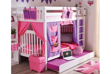 เตียงสองชั้น Anastasia Youth ขนาด3.5ฟุต + ผ้าม่าน + เตียงเสริม