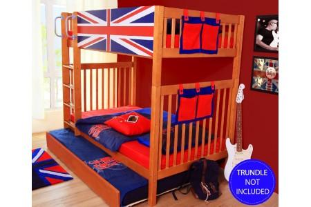 เตียงสองชั้นลาย - Union Jack Blue ขนาด3.5ฟุต (ไม่รวมเตียงเสริม)