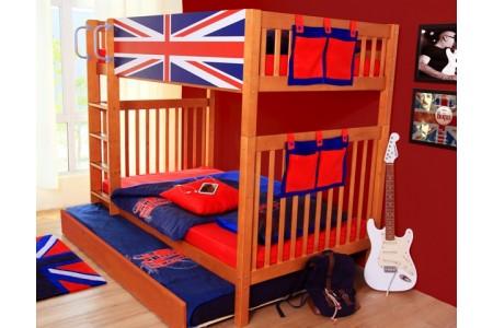 เตียงสองชั้นลาย - Union Jack Blue ขนาด3.5ฟุต + เตียงเสริม